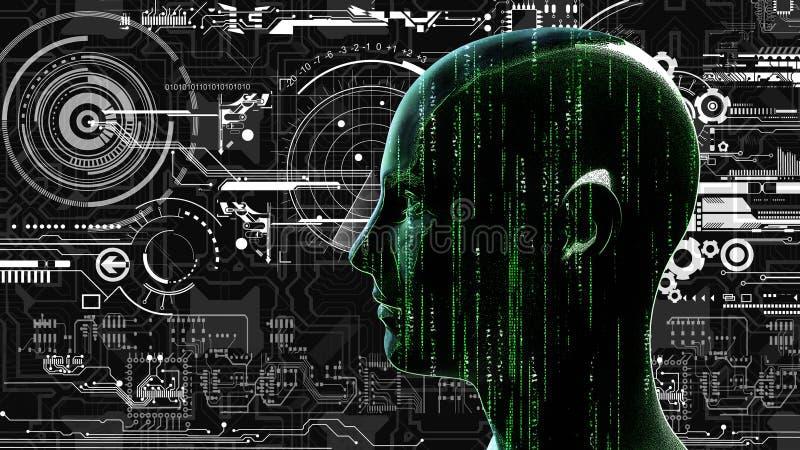 Tête humaine de matrice de technologie au fond avec les circuits électroniques illustration stock