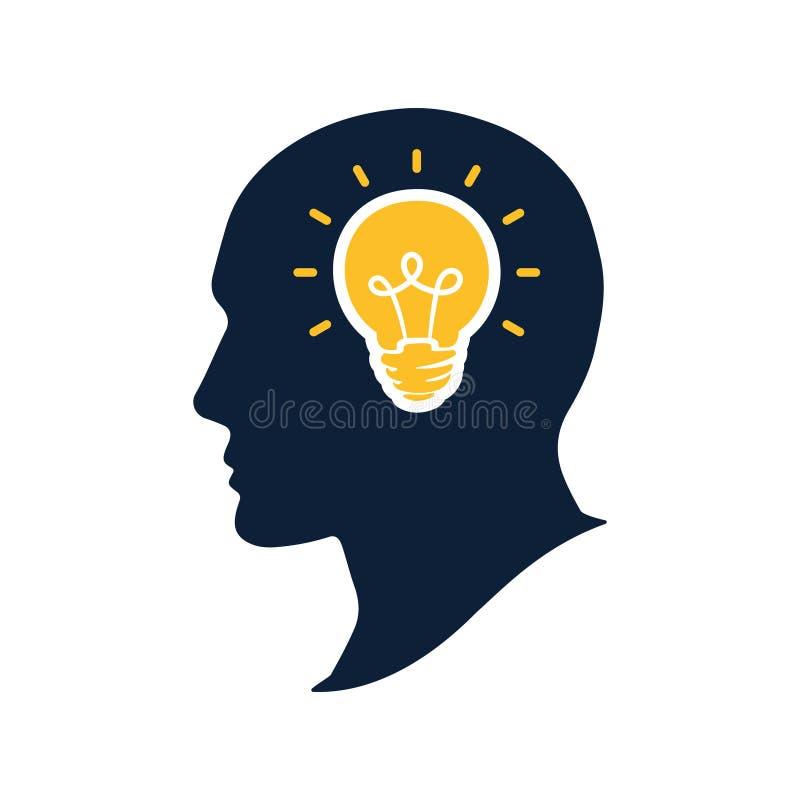 Tête humaine de silhouette avec l'illustation de vecteur d'ampoule Concept de pensée créative et d'imagination Grande idée illustration stock