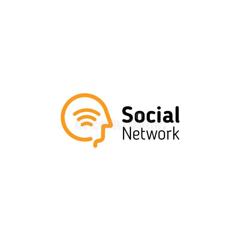 Tête humaine linéaire avec le symbole de signal de wifi à l'intérieur Logo social abstrait de vecteur de réseau illustration libre de droits