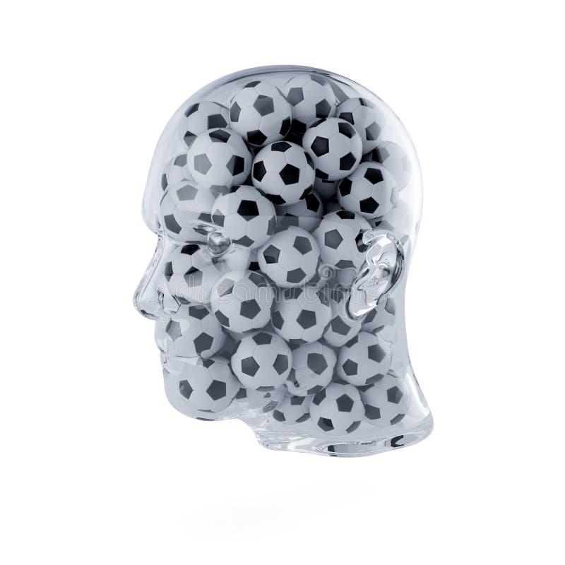 Tête humaine remplie de boules du football illustration de vecteur