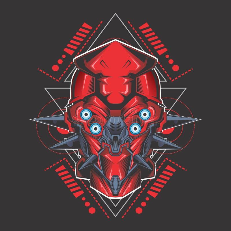 Tête laide rouge de gundam illustration de vecteur