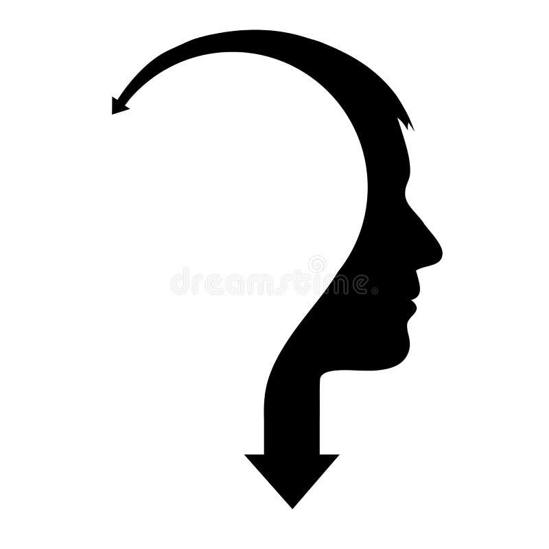 Tête masculine abstraite avec la flèche illustration stock