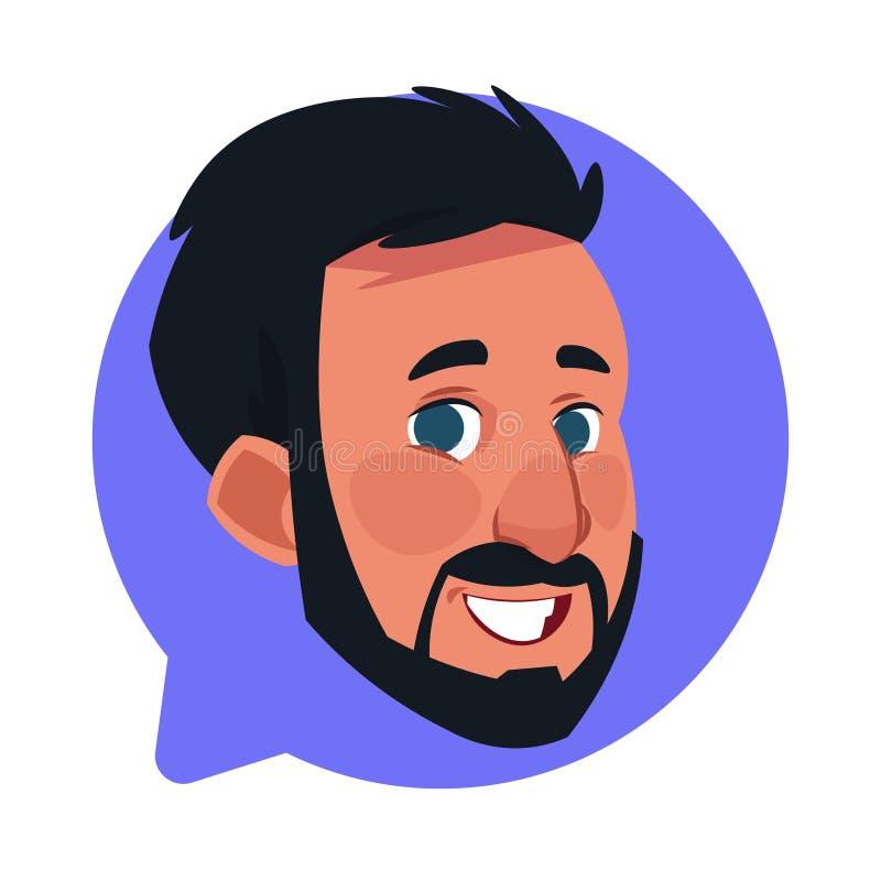 Tête masculine d'icône de profil dans la bulle de causerie d'isolement, portrait caucasien barbu de personnage de dessin animé d' illustration de vecteur