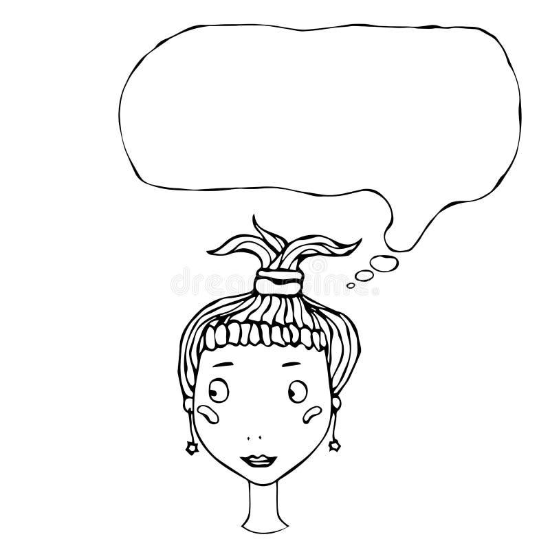 Tête mignonne de fille assez jeune de bande dessinée avec l'illustration de pensée de vecteur de ballon illustration de vecteur