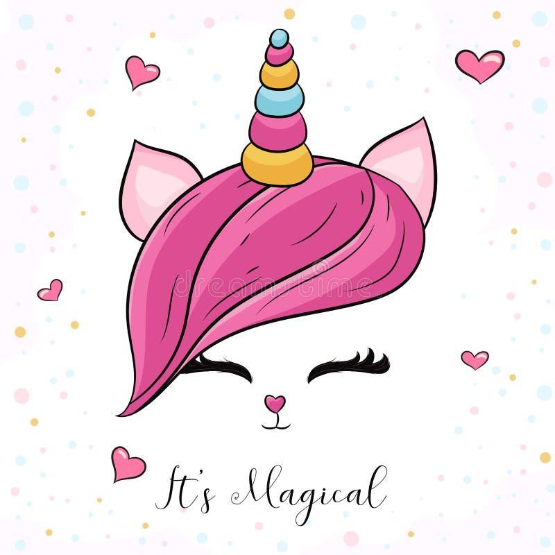 Tête mignonne de licorne avec les cheveux roses illustration libre de droits