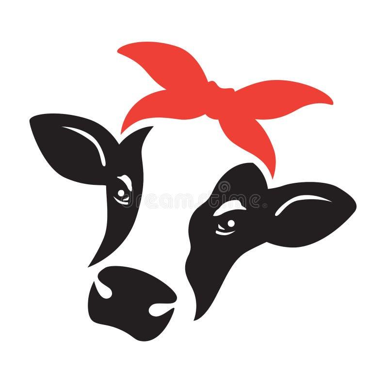 Tête mignonne de visage de vache avec le Bandana rouge illustration de vecteur