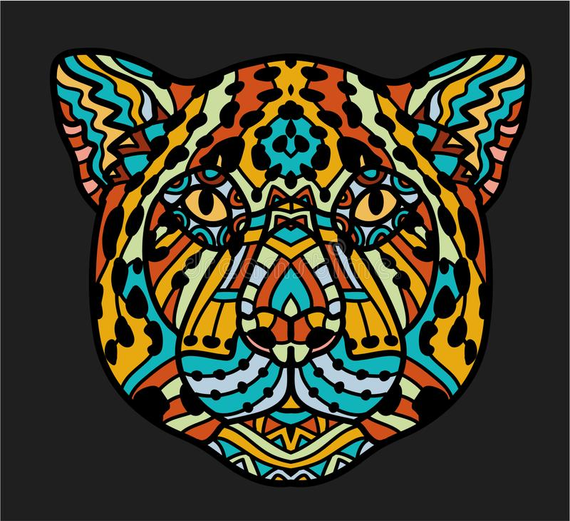 Tête modelée de Jaguar Page adulte de coloration d'anti-effort Animal tiré par la main noir de blanc et de couleur Africain, indi illustration de vecteur