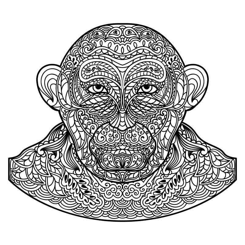 Tête modelée de singe d'isolement sur le fond blanc illustration de vecteur