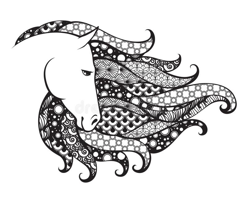 Tête modelée par Ornamental du cheval Illustration de vecteur de griffonnage de Zentangle Graphique noir et blanc illustration stock