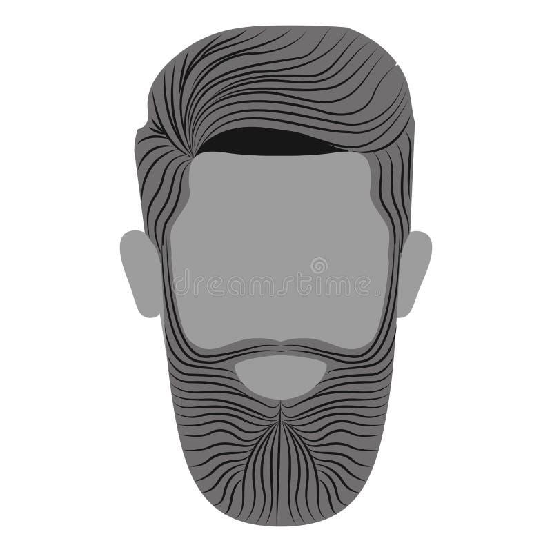 Tête monochrome d'homme avec la barbe sans visage illustration libre de droits
