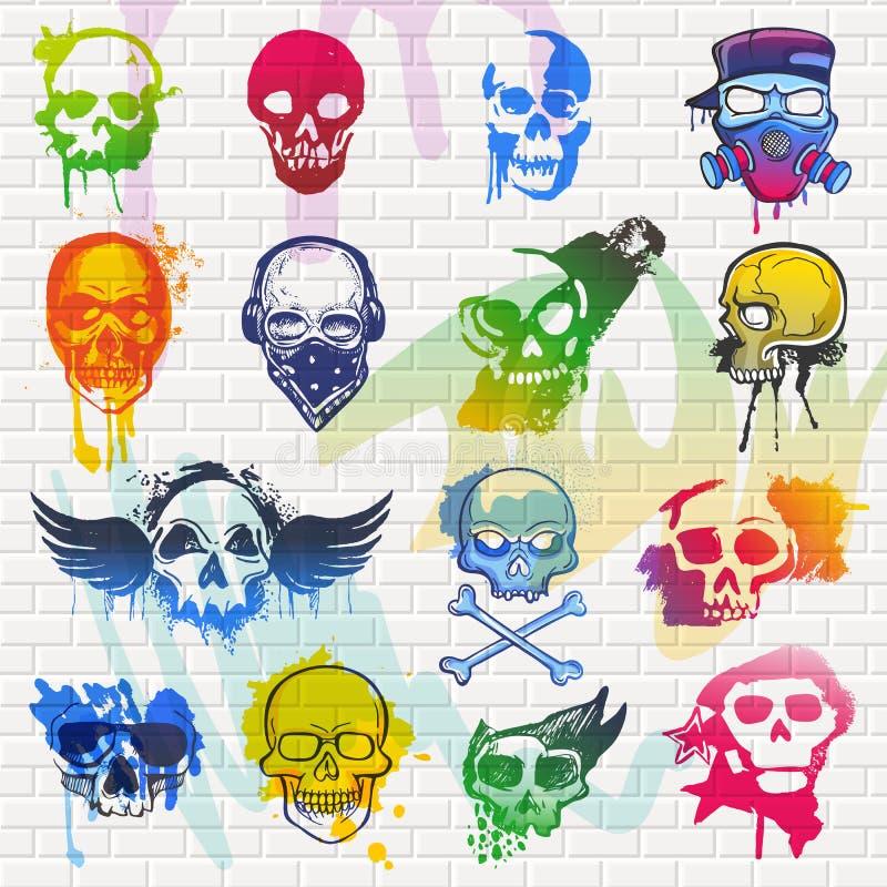 Tête morte de vecteur de crâne et os croisés mexicains et ensemble sot d'illustration humaine de tatouage de symbole d'horreur de illustration libre de droits