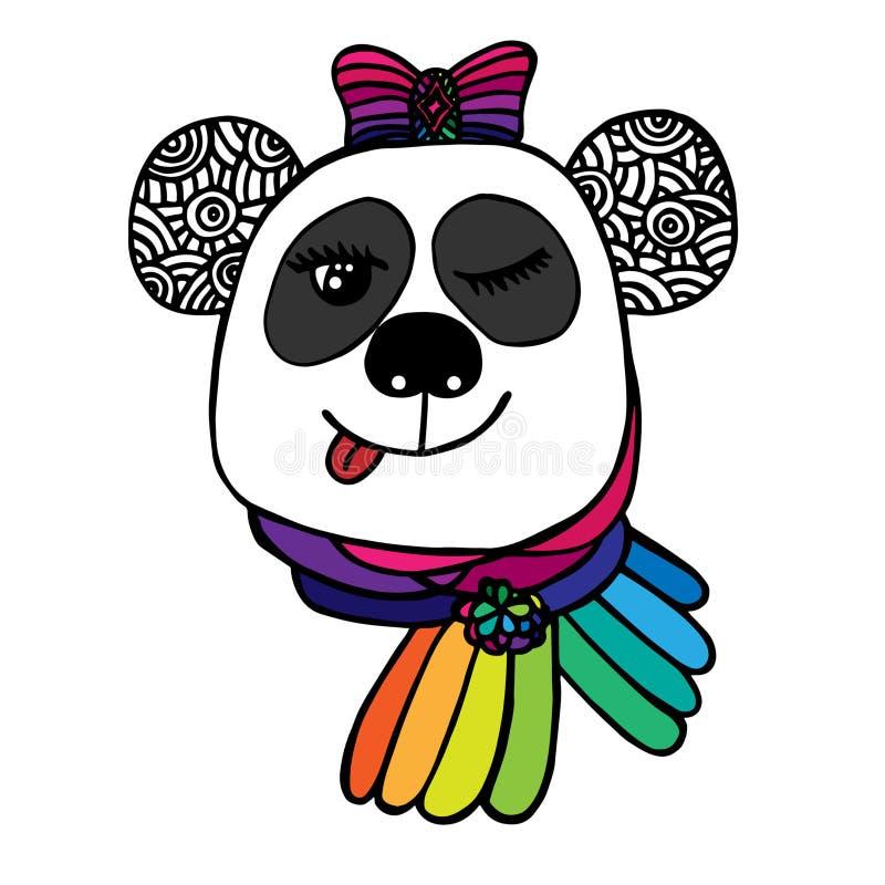 Tête multicolore de panda de sourire avec la couleur d'arc de l'arc-en-ciel illustration libre de droits