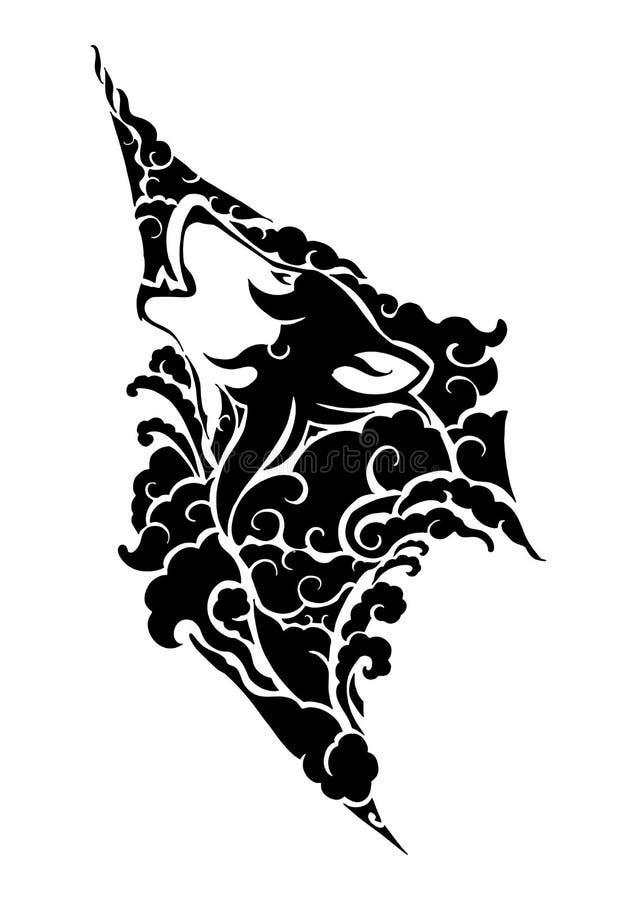 tête mystique de loup avec la conception de nuage avec le style tribal de l'Asie illustration libre de droits