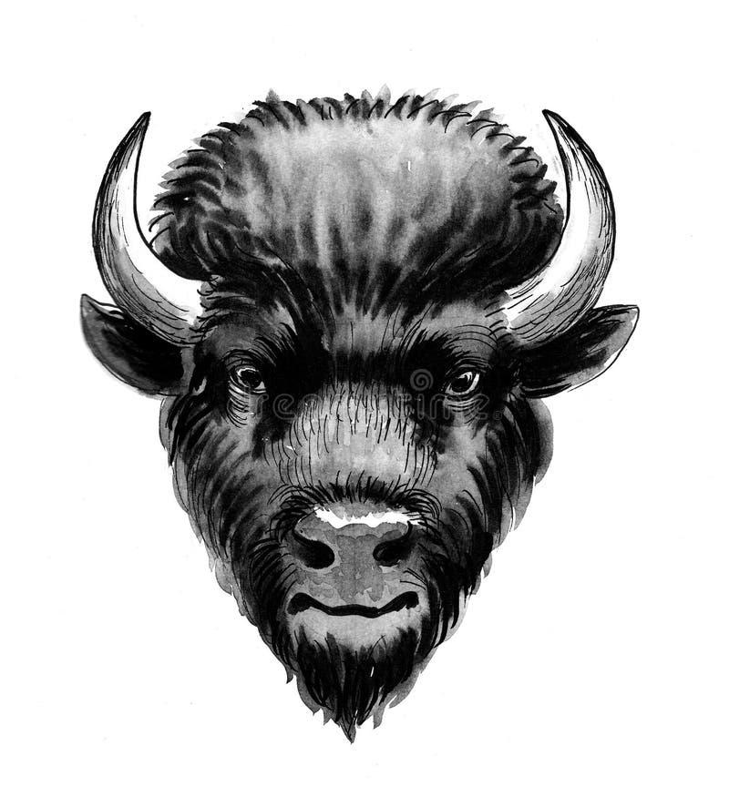 Tête noire de bison illustration stock