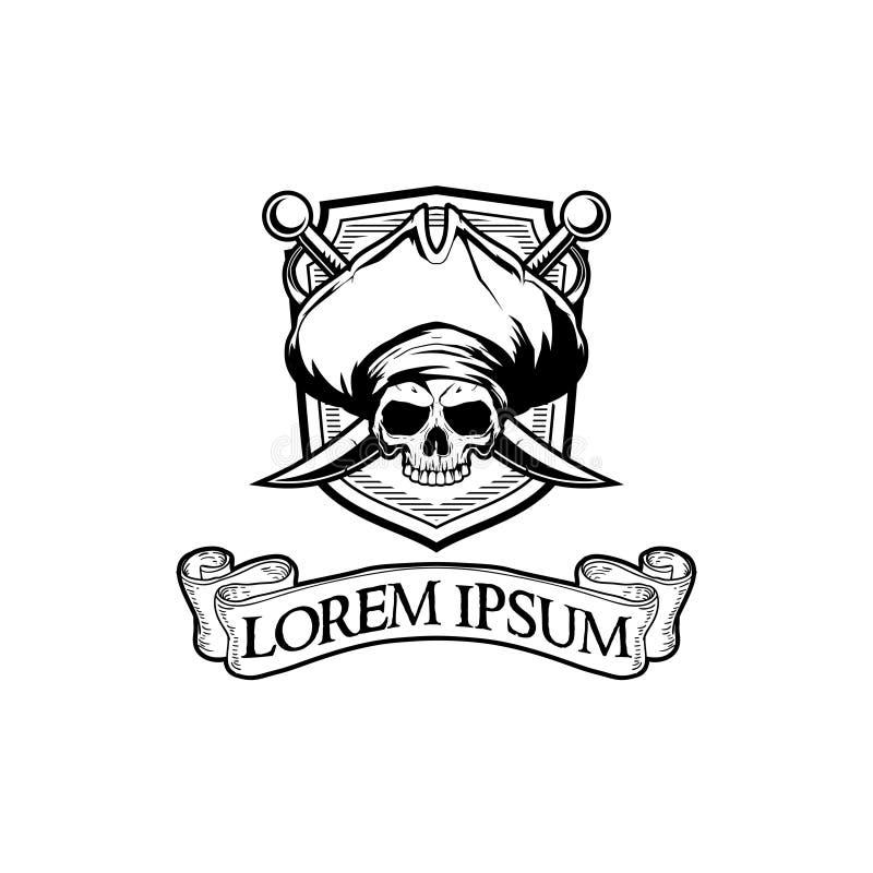Tête noire et blanche stupéfiante de crâne de pirate avec le calibre de logo d'insigne de vecteur d'épée et de ruban illustration de vecteur