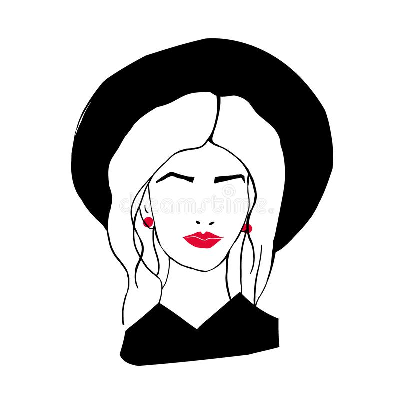 Tête ou visage de dame élégante avec de longs cheveux, lèvres rouges, chapeau et boucles d'oreille d'isolement sur le fond blanc  illustration de vecteur