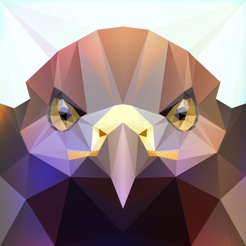 Tête polygonale d'aigle de vecteur illustration stock