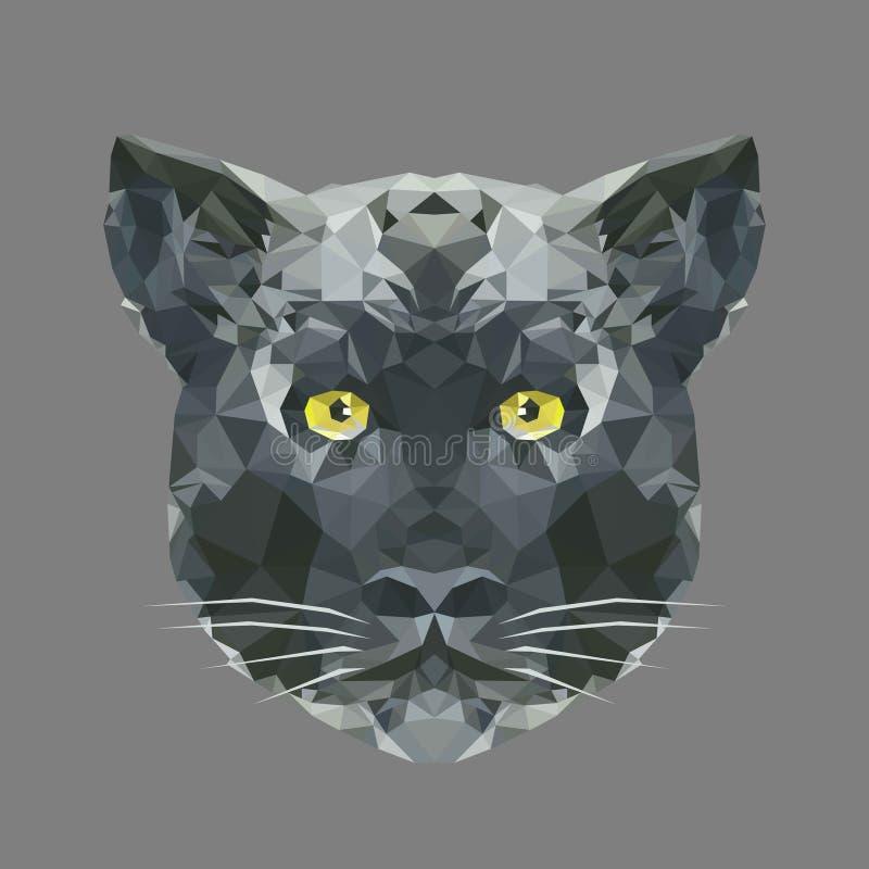 Tête polygonale de panthère noire, anim géométrique de faune de polygone illustration stock