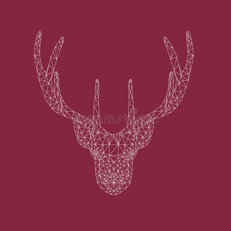 Tête polygonale des cerfs communs, du tatouage ou de la copie géométrique illustration de vecteur