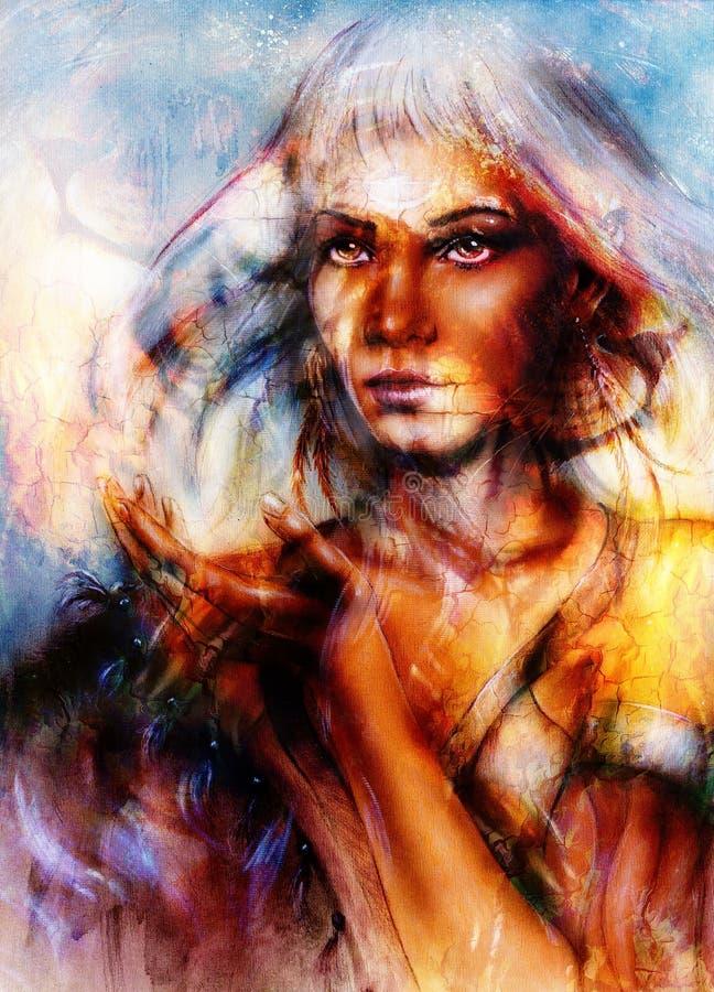 Tête puissante de peinture de lion et visage mystique de femme illustration stock