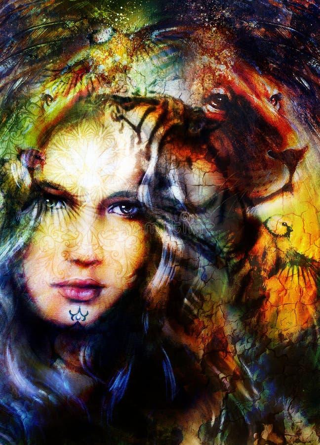 Tête puissante de peinture de lion, et visage mystique de femme illustration de vecteur