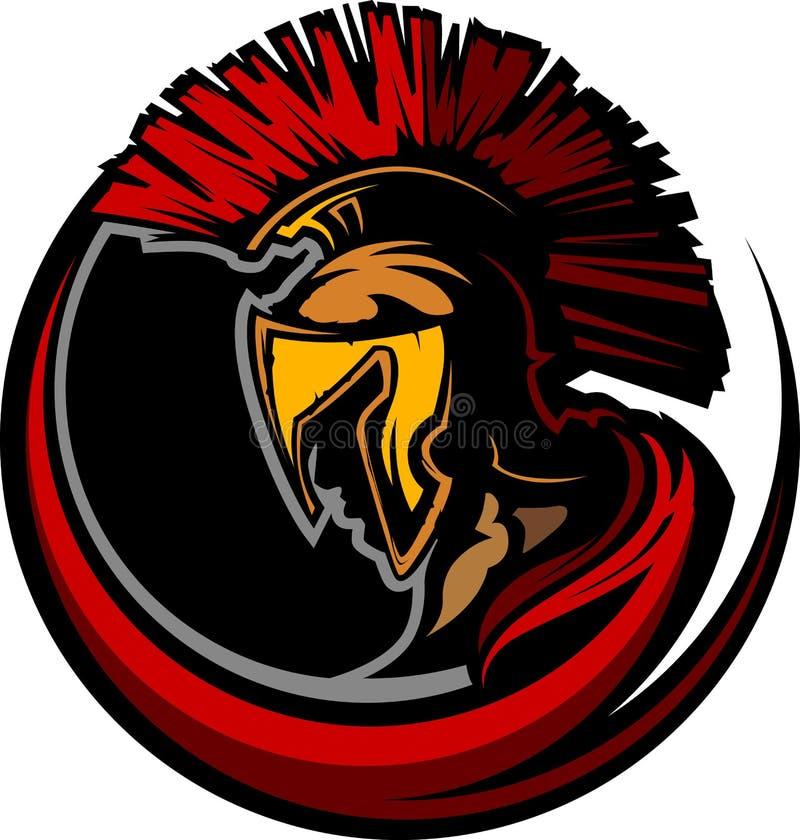 Tête romaine de mascotte de centurion avec le casque illustration stock