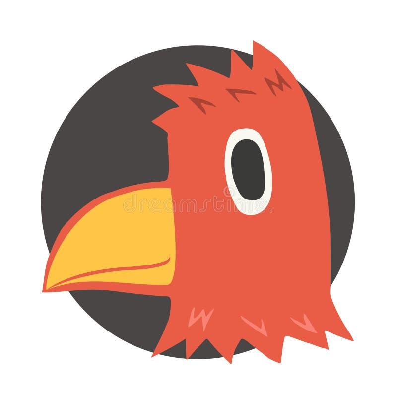Tête rouge d'oiseau illustration de vecteur