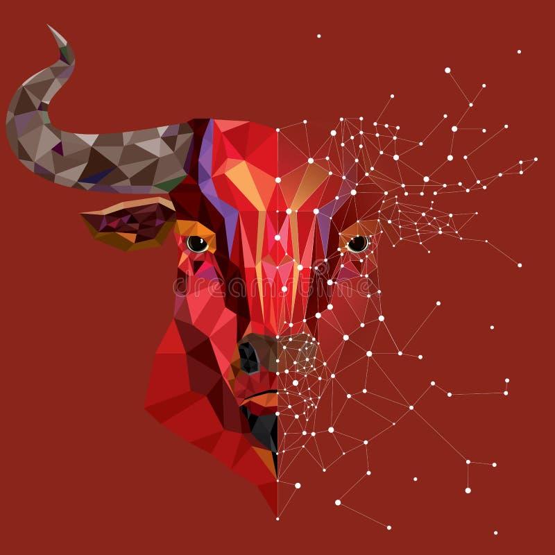 Tête rouge de taureau de bas polygone avec l'illustr géométrique de vecteur de modèle photos stock