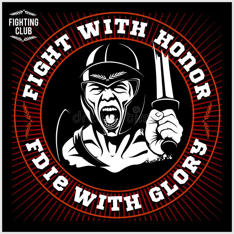 Tête spartiate de guerrier Logo de chevalier Casque Trojan illustration libre de droits