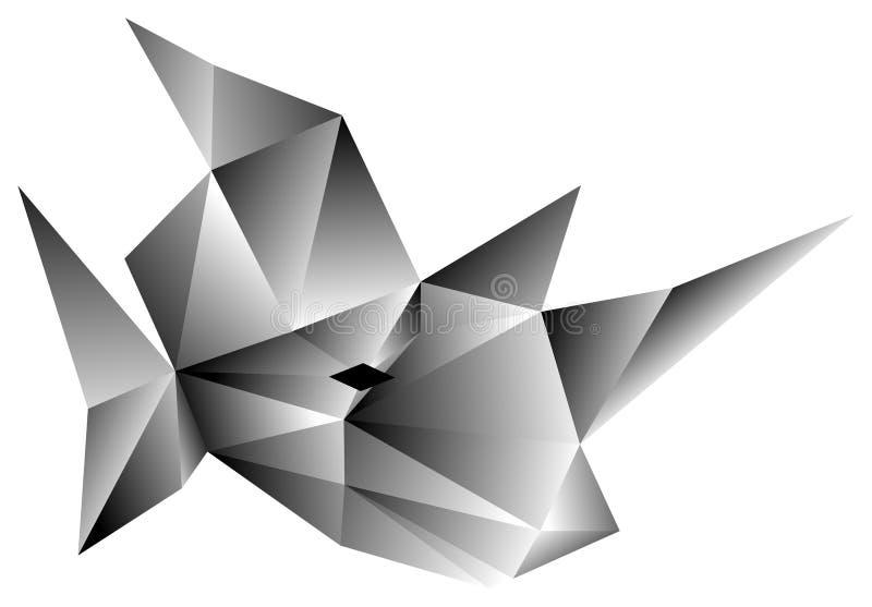 Tête stylisée de rhinocéros de mosaïque dans des tons gris, d'isolement illustration de vecteur