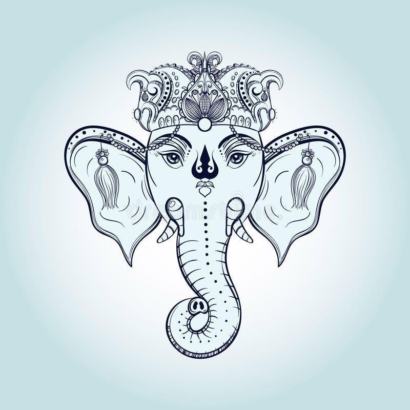 Tête tirée par la main d'éléphant Divinité indoue Ganesha de seigneur indien d'un dieu G illustration de vecteur