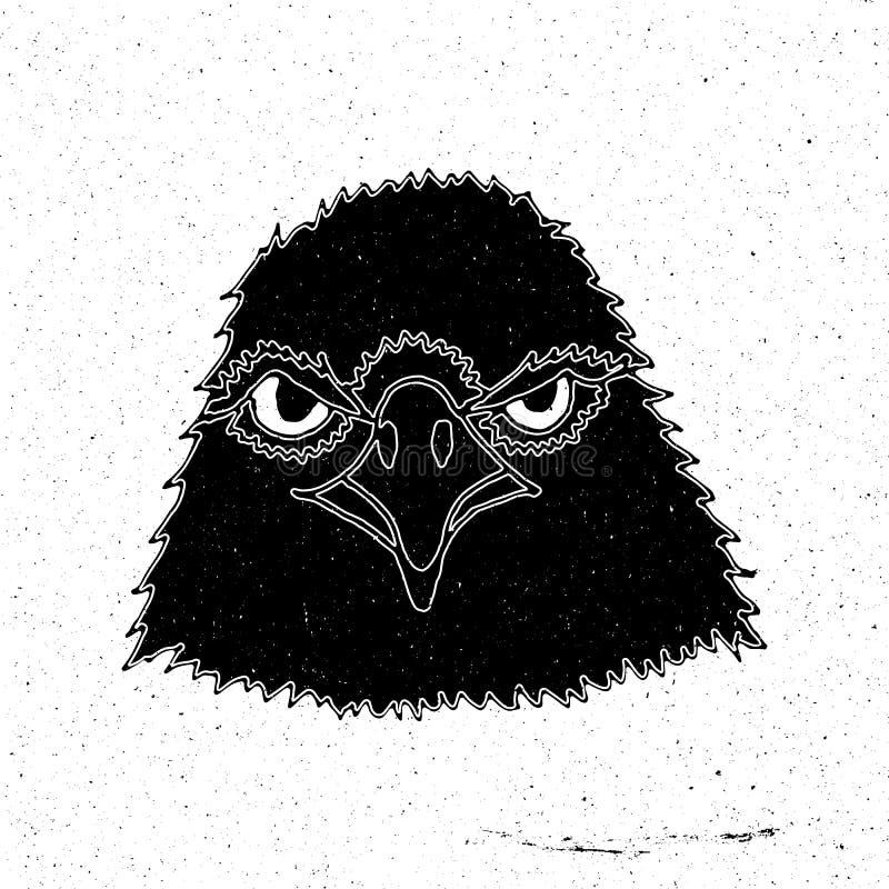 Tête tirée par la main d'un aigle illustration de vecteur