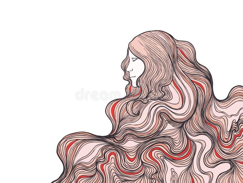 Tête tirée par la main de fille avec de longs cheveux illustration de vecteur