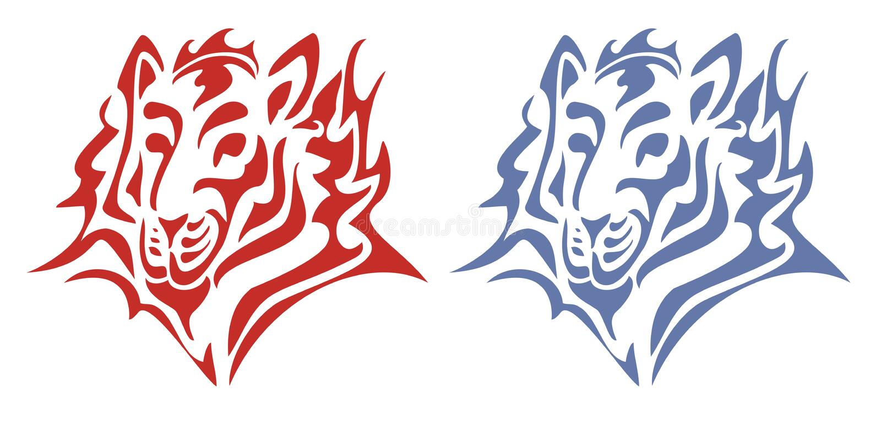 Tête tribale de tigre Rouge et bleu sur le blanc illustration de vecteur
