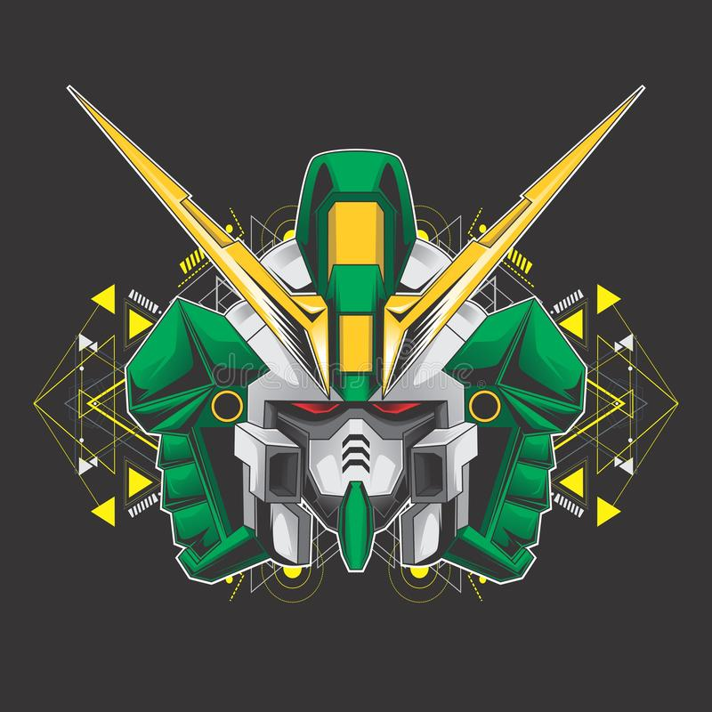 Tête verte de gundam illustration stock