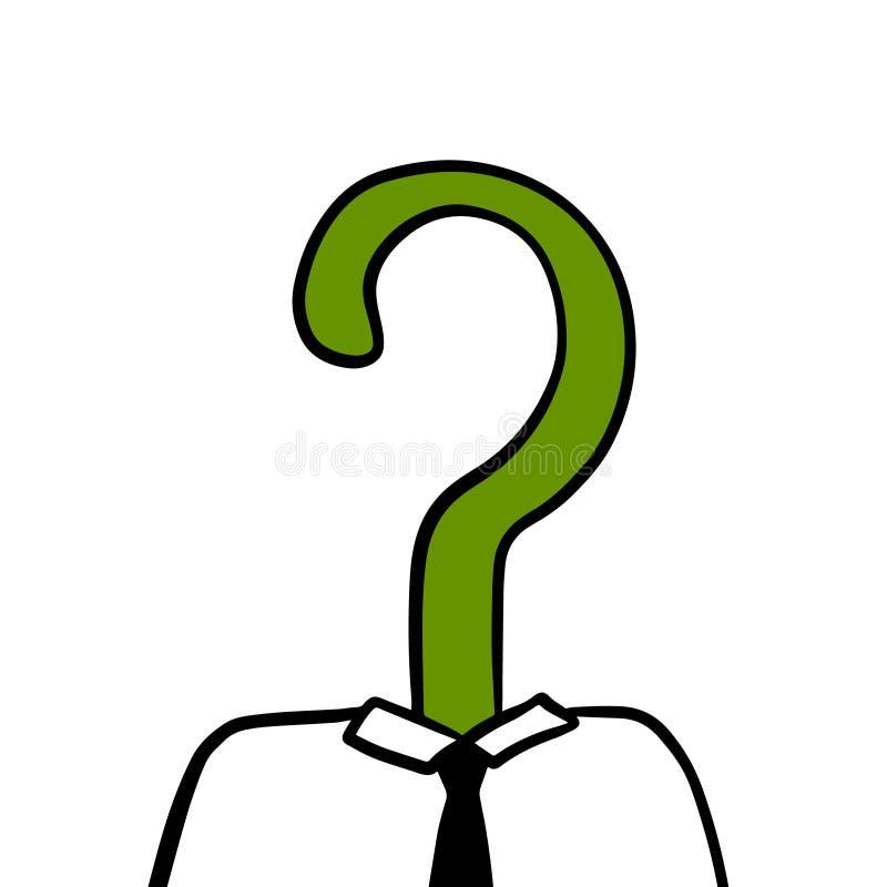 Tête verte de question d'illustration tirée par la main de patron ou de directeur d'homme d'affaires illustration stock