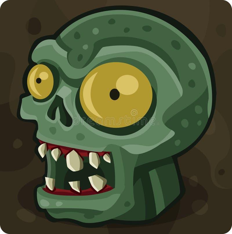 Tête verte de zombi illustration de vecteur