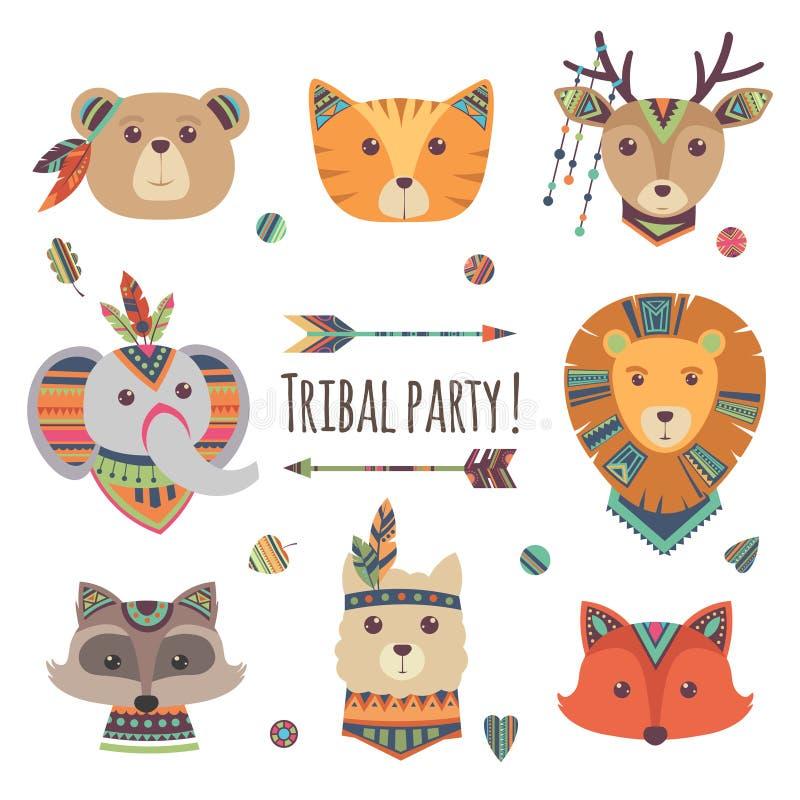 Têtes animales tribales de bande dessinée d'isolement sur le fond blanc Dirigez le lama, ours, éléphant, raton laveur, renard, st illustration libre de droits