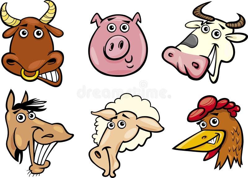 Têtes d'animaux de ferme de dessin animé réglées