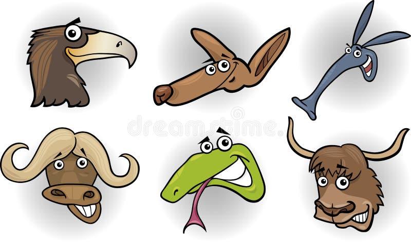 Têtes d'animaux sauvages de dessin animé réglées illustration stock