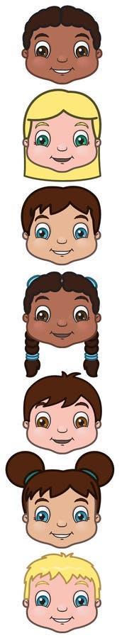 Têtes d'enfants illustration stock