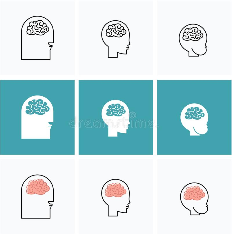 Têtes de cerveau de vecteur d'icônes de trois personnes illustration stock