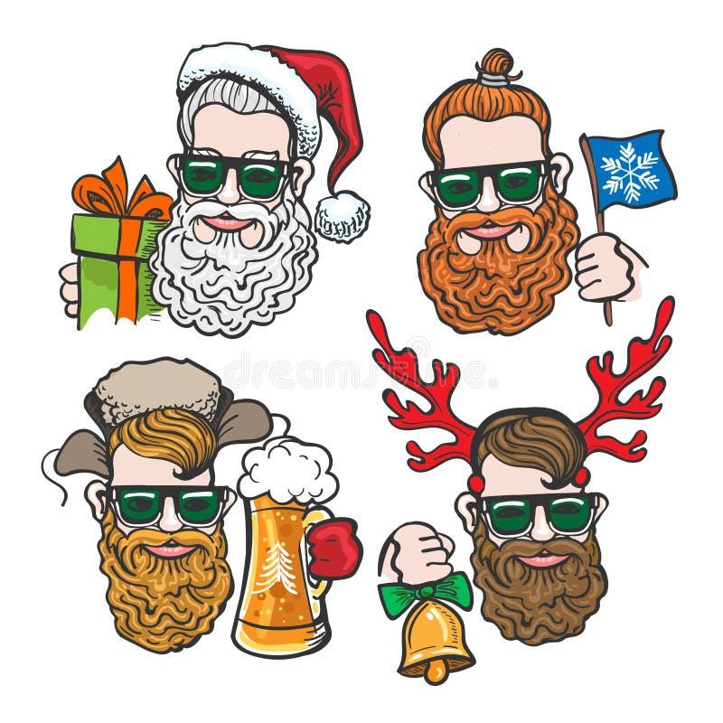 Têtes de hippies avec des accessoires de Noël illustration stock
