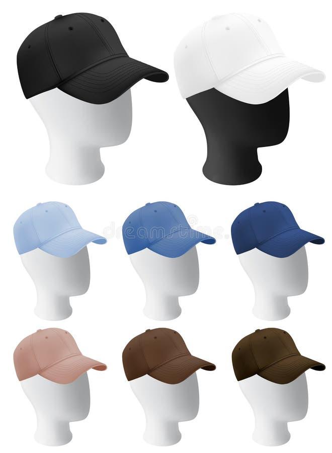 Têtes de mannequin avec le calibre vide de casquette de baseball illustration de vecteur