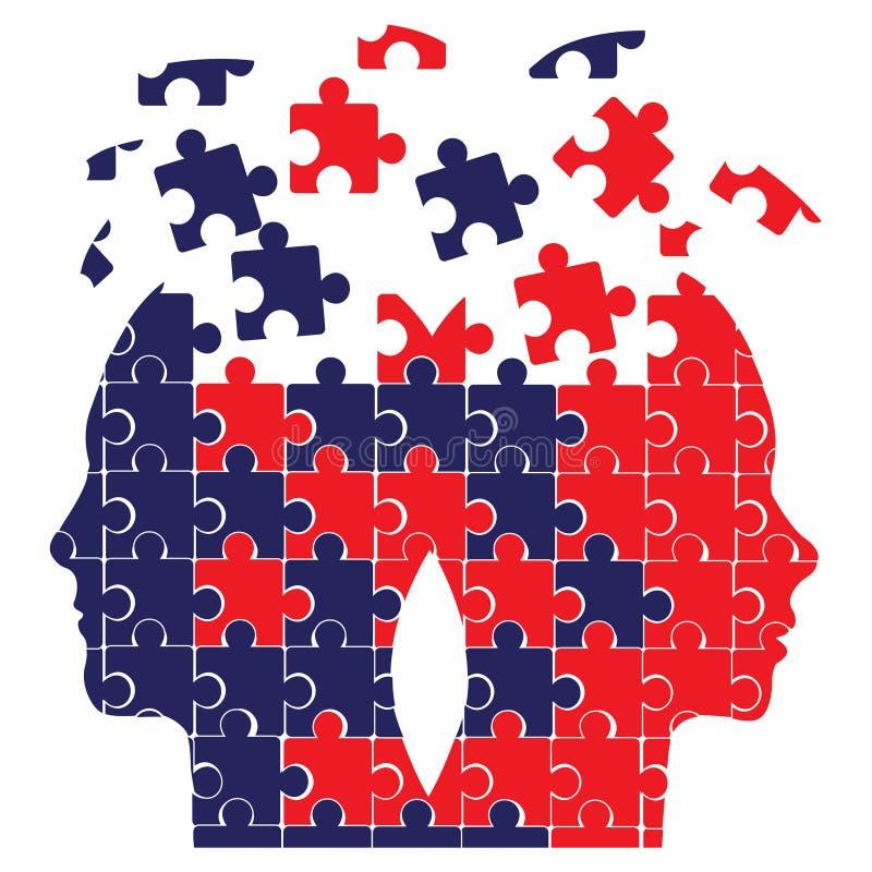 Têtes de puzzle illustration stock
