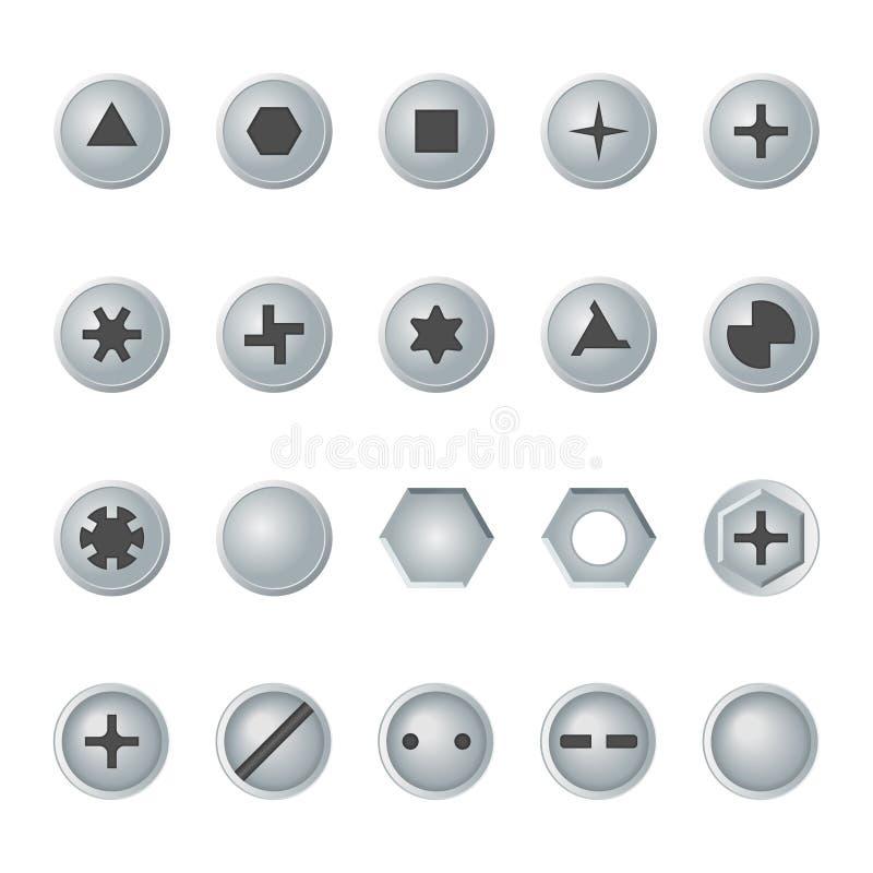 Têtes de vis et de boulon réglées Éléments de conception de vecteur illustration stock