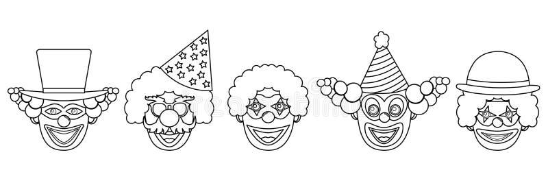 Têtes des clowns sans couleur, ensemble Illustration de vecteur illustration stock