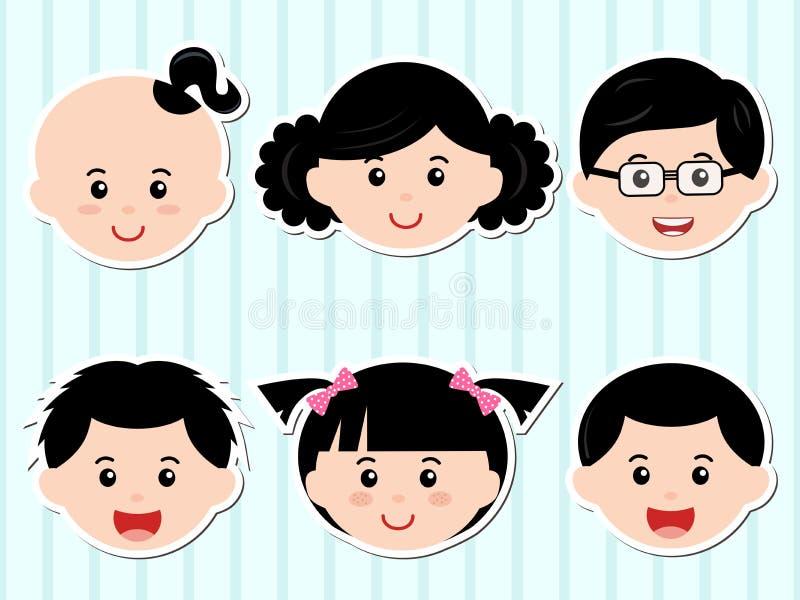 Têtes des filles/des garçons avec le cheveu noir illustration libre de droits