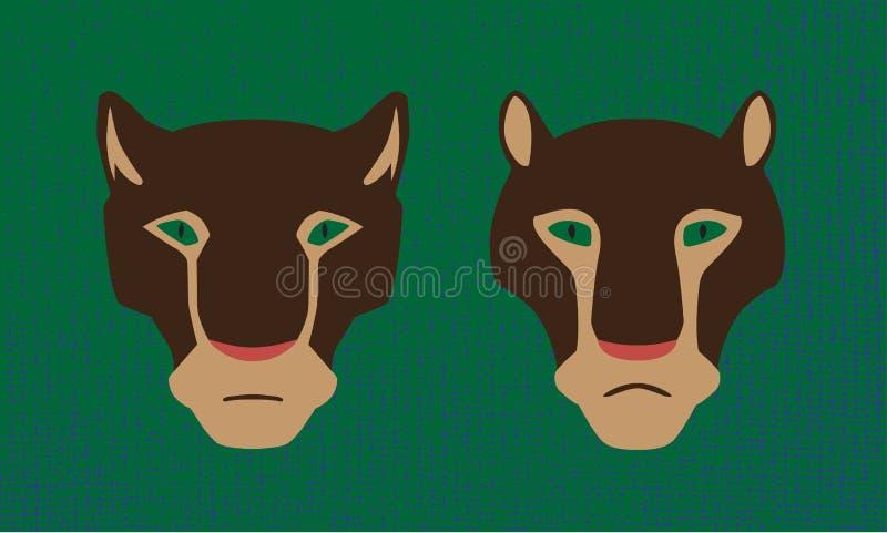 Têtes du vecteur deux des animaux de puma Chats sauvages masculins et femelles Image stylisée illustration de vecteur