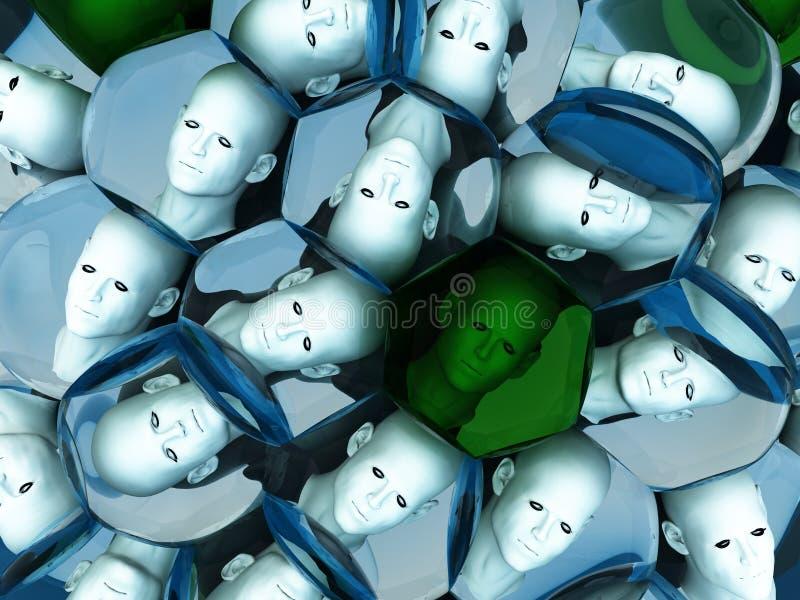Têtes en cellules illustration de vecteur
